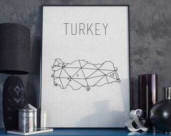 Turkey map Turkey art Turkey print Turkey wall art Geometric art Scandinavian style gift for christmas Minimalist print Turkey poster