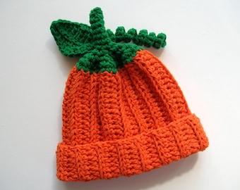 Crochet Pumpkin Hat/Pumpkin Hat /Newborn Pumpkin Hat/halloween/Fall Hat/Halloween Hat/Thanksgiving Hat/Crochet Fall Hat/Baby Pumpkin Hat