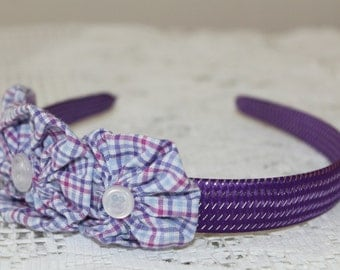 Purple Thick Solid Headband with Purple/Teal Plaid Yoyo Flowers