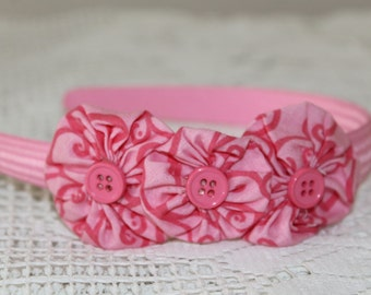 Pink Thick Solid Headband with Yoyo Flowers
