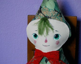 Art plush doll, little sprite, awake with red lace