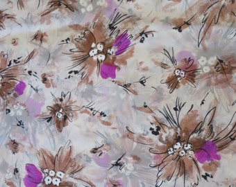 Vintage Nylon Floral Fabric
