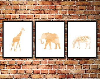 Watercolor Animal Silhouettes Apricot Kids Nursery Prints - Set of 3