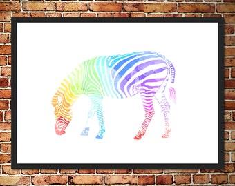 Rainbow Watercolor Zebra Print
