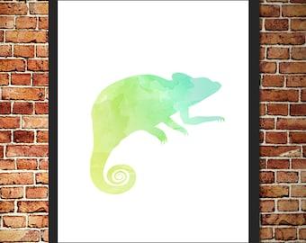 Chameleon Watercolor Print
