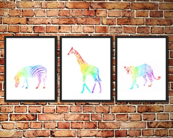 Rainbow Watercolor Animal Silhouettes - Set of 3