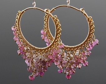 Pink Sapphire Wire Wrapped Hoop Earrings #E202