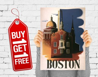 Boston poster travel print wall art retro vintage USA poster architecture buildings of the city of Boston USA - Boston Architecture (2687)