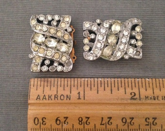 Two (2) Vintage LARGE 1940s, 1950s Silver, Rhinestone Three (3)  Strand Clasps, Bracelet, Necklace