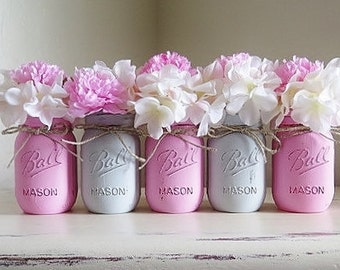 Pink and Gray Distressed Mason Jars, Wedding Centerpieces, Painted Mason Jars, Mason Jar Centerpieces, Baby Shower Decorations, Vases
