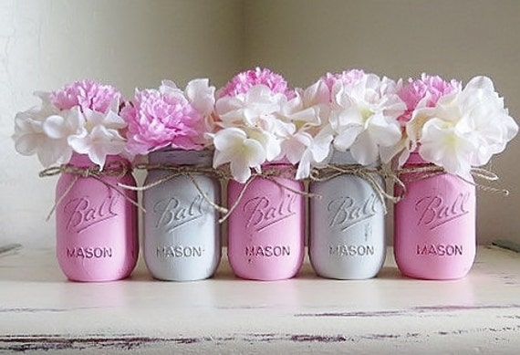 Pink and gray distressed mason jars wedding centerpieces