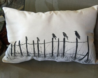 Ravens on Fence Hand Painted Pillow Cover or pillow, Halloween pillow, Harvest Time, Rustic Farmhouse, Bird Fall front porch, Country Crows