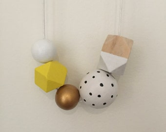 Wooden Bead Necklace // Yellow White and Gold // black dots // hand painted