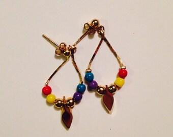 Vintage colorful beaded arrow earrings  - Native American look