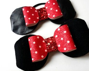 Minnie mouse ears, ponytail, hairclip, minnie mouse headband, minnie mouse ear headband