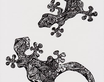 GECKOS-digital print of an original pen & ink drawing.