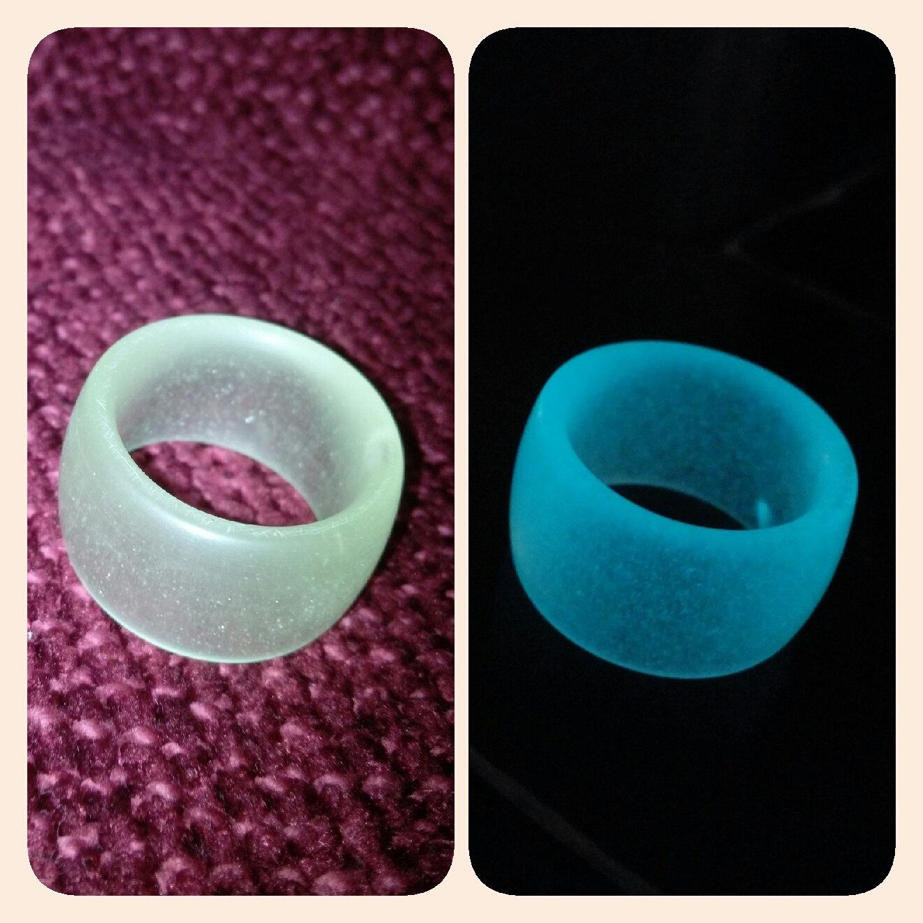 Glow in the dark resin ring aqua by rasconartdesigns on etsy for Glow in the dark resin