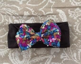 Sequin big bow, baby turban headband, sequin bow turban, baby headband, multi colored sequin bow headband