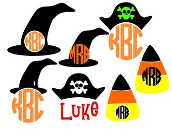 Holloween Monogram Toppers Set SVG, Studio 3, DXF, EPS and pdf Cutting Files for Electronic Cutting Machines