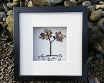 "Handmade Irish art. ""Irish Roots"", an original piece of pebble art celebrating Irish ancestry."