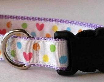 Heart & Polk-A-Dot Dog Collar