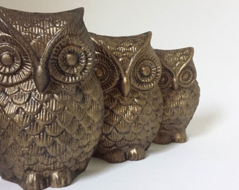 3 Metal Owls, Owl Wall Decor, Vintage Metal Owls