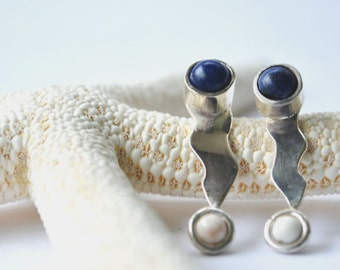 Silver earrings Sterling and lapis lazuli