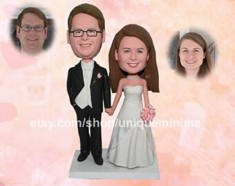 Wedding Cake Topper Silhouette Groom and Bride -  Bobblehead dolls Cake Topper