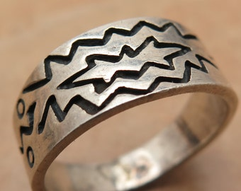 Vintage 925 Sterling Silver South Western Zig Zag Ring Size 10 (5.5g)