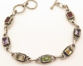 "Vintage 925 Sterling Silver Multi Stone Garnet, Amethyst, Citrine, Peridot Toggle Bracelet 6.5"" - 7"" (15.1g)"