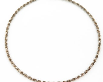Vintage Italy 925 Sterling Silver Rope Chain Bracelet 8 in (3g)