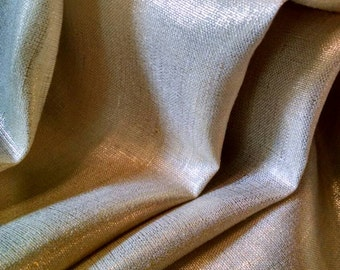 Curtain Panel Pair of 100% Linen With Metallic Gold Curtains