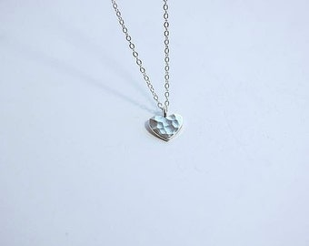 Tiny Silver heart necklace - Sterling Silver tiny hammered heart  necklace - Love Necklace -Tiny hammered heart necklace - Delicate necklace