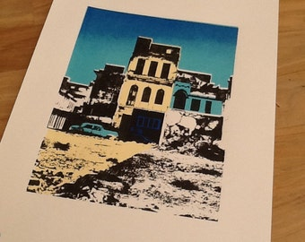 Original silk screen print of Havana, Cuba. Inspired by one many photos I took in the City. Only 16 silkscreen prints on run. Free p&p.
