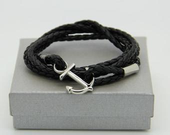 bracelet homme ancre marine  sur cuir tressé