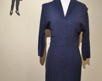 Vintage 1940's Secretary Dress / 40s Navy Button Up Dress M