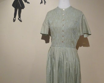Vintage 1950's Cay Artley Day Dress / 50s Blue and Brown Gingham Dress M  tr