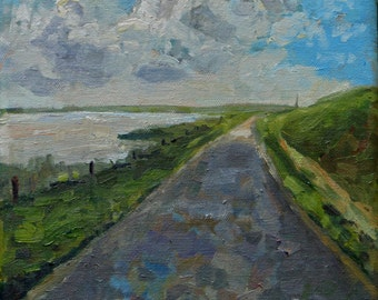 """Oilpainting of a Dutch landscape, the island Terschelling, """"Towards the light"""", 8x8 inch"""