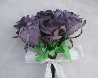 4 Piece Eggplant Purple Rose Wedding Bouquet, Bride's Bouquet, Bridesmaid Flowers, Centerpiece, Boutonniere, Corsage,  Anniversary Flowers