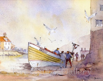 Staithes North Yorkshire Fishing Coble Print Flat Caps Ganseys Screeching Gulls Battle To Steal The Days Catch Unique Watercolour Art Print