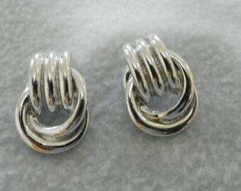 silver tone vintage earrings
