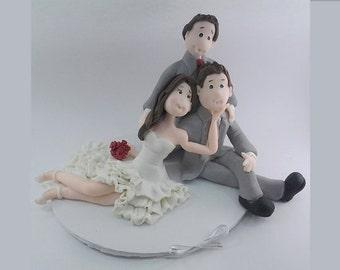 Cake topper Wedding  handmade polymer (cold porcelain), bride, groom, son