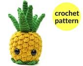 Pineapple amigurumi pattern - kawaii pineapple, fruit amigurumi, cute crochet pineapple, cute stuffed animal, crochet pattern