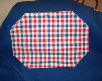 Set of 4 Red, White & Blue Checked Placemats