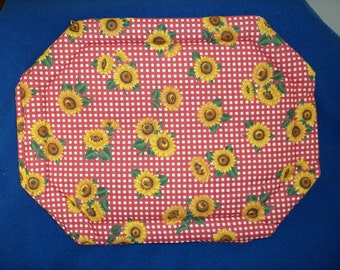 Set of 4 Red Checked Sunflowers Placemats