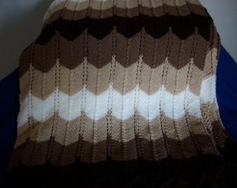 Shades of Brown Knitted Afghan