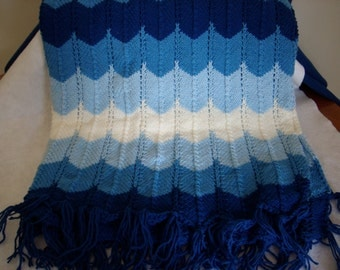 Shades of Blue Knitted Afghan