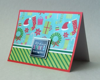 Making Spirits Bright Card, Bright Christmas Card, Paper Handmade Greeting Card