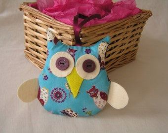 Blue owl, lavender scented, owl fabric, hanging decoration, teachers gift, birthday gift, secret Santa, stocking filler