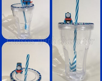 Thomas the tank engine character tumbler with straw.